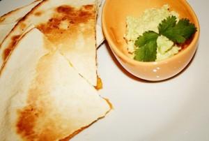 Roast butternut, feta and coriander quesadillas recipe
